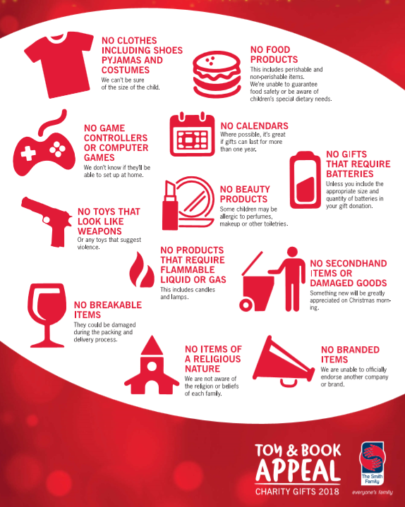What you can't donate info-graphic: no clothes, food, calenders,beauty product, computer games or controllers, toys that look like weapons, breakable items, products that require flammable liquid or gas, secondhand items, items of religious nature, branded items