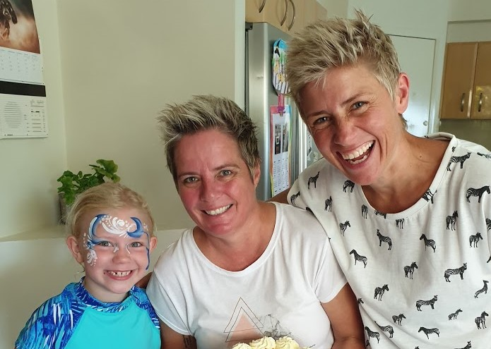 Willow with mums Kellie and Lucy at their Queensland home.